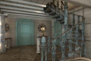 Лестница и модульный паркет