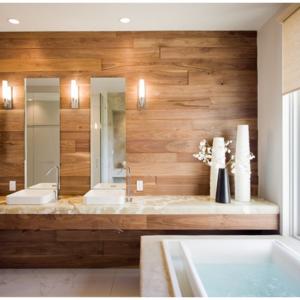 Деревянные стеновые панели в ванную